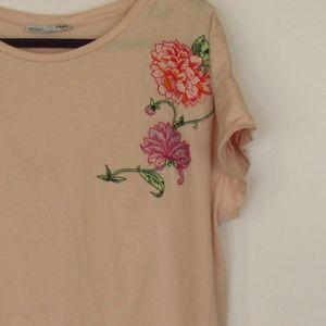 Zara Embroidered Light Pink Crew Neck T-Shirt 8